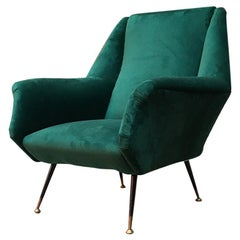 Italian Mid-Century Green Velvet Armchair Whit Armrests, 1950s
