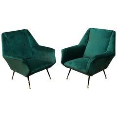Italian Mid-Century Green Velvet Armchairs Whit Armrests, 1950s