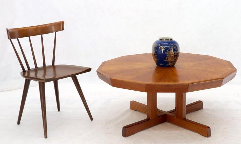 Danish modern teak heavy solid base coffee table. Beautiful teak wood pattern.