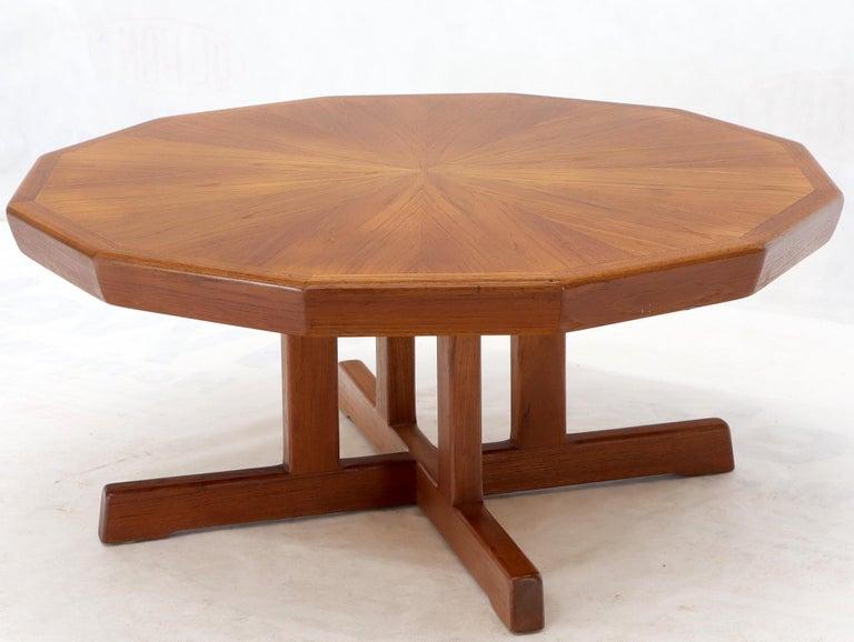 20th Century Danish Mid-Century Modern Hexagon Top Heavy Cross Base Coffee Table For Sale
