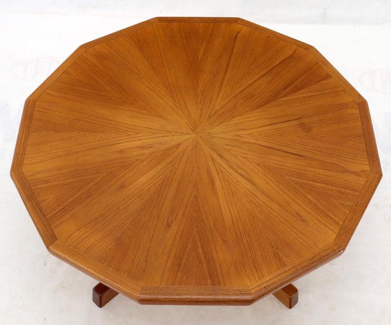 Teak Danish Mid-Century Modern Hexagon Top Heavy Cross Base Coffee Table For Sale