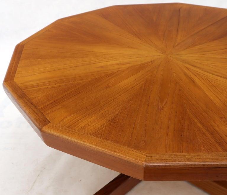 Danish Mid-Century Modern Hexagon Top Heavy Cross Base Coffee Table For Sale 2