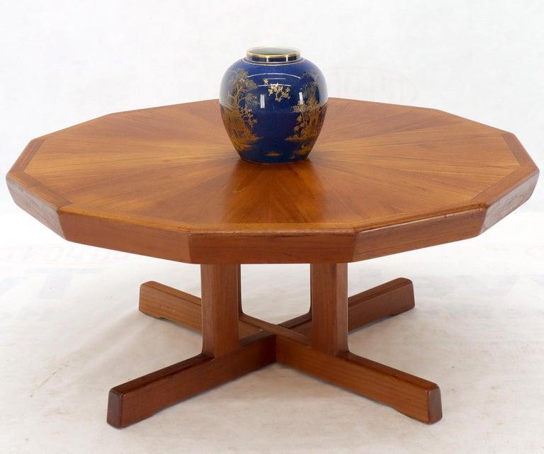 Danish Mid-Century Modern Hexagon Top Heavy Cross Base Coffee Table For Sale 3