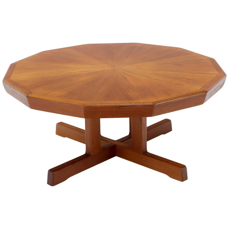 Danish Mid-Century Modern Hexagon Top Heavy Cross Base Coffee Table For Sale