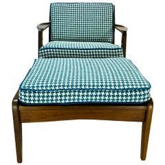 Danish Mid-Century Modern Ib Kofod Larsen Walnut Lounge Chair & Ottoman