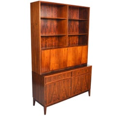 Danish Mid-Century Modern Kai Winding Rosewood Credenza with Bookcase Hutch