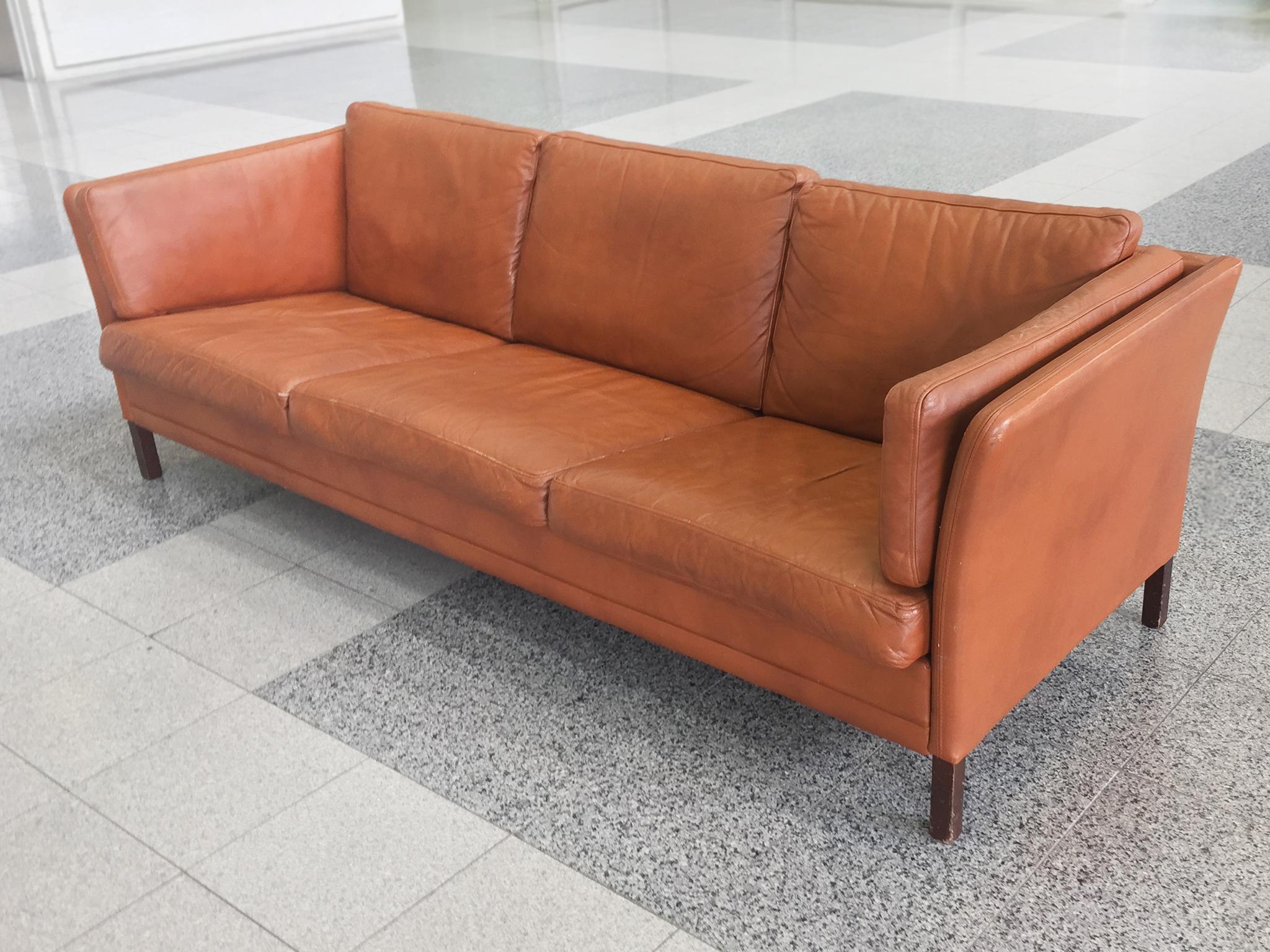 Danish Mid Century Modern Leather Sofa By Mogens Hansen At