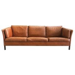 Danish Mid-Century Modern Leather Sofa by Mogens Hansen