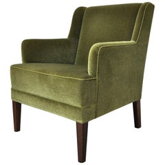 Danish Mid-Century Modern Lounge Chair in Green Velvet, 1950s