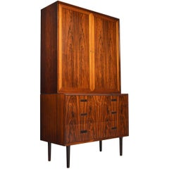 Danish Mid-Century Modern Lyby Rosewood Gentleman's Chest with Hutch