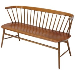 Danish Mid-Century Modern Molded Teak Plywood Spindle Back Settee Bench