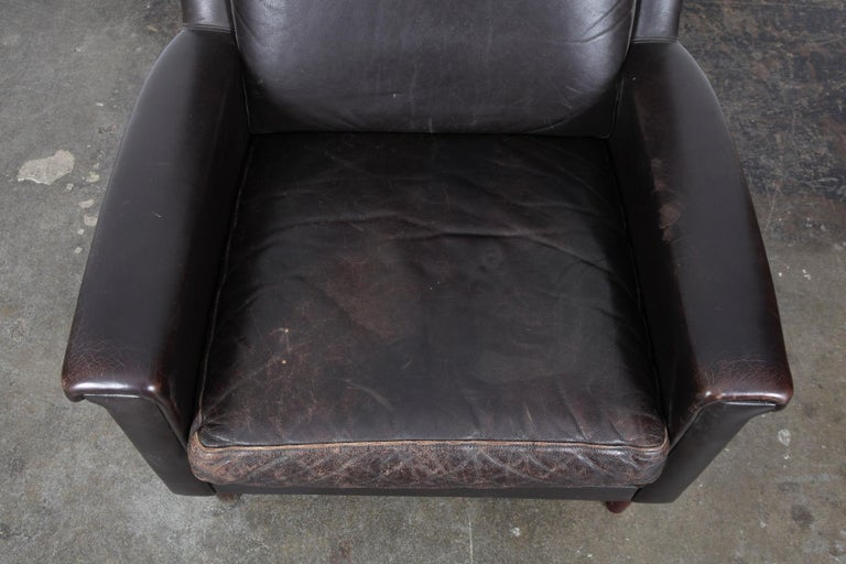 Danish Mid-Century Modern Original Brown Leather Tall Back Chair For Sale 6