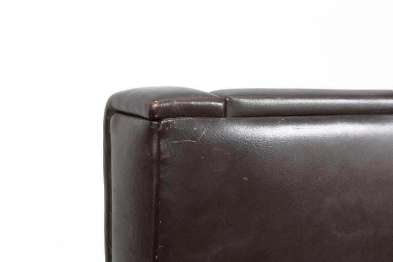 Danish Mid-Century Modern Original Brown Leather Tall Back Chair For Sale 7