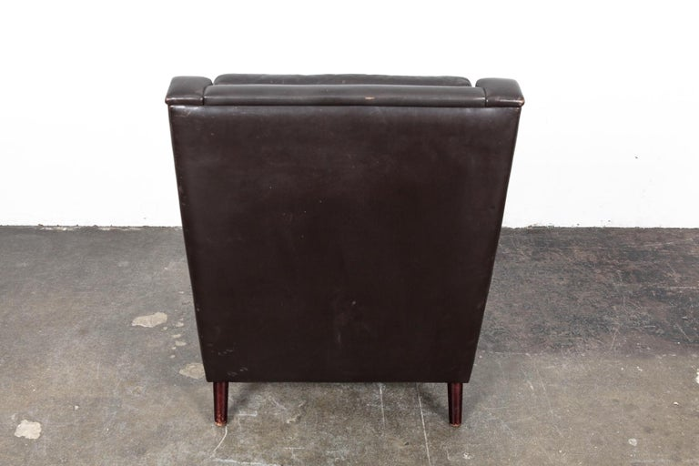 Danish Mid-Century Modern Original Brown Leather Tall Back Chair For Sale 8