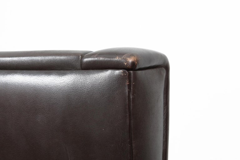 Danish Mid-Century Modern Original Brown Leather Tall Back Chair For Sale 9
