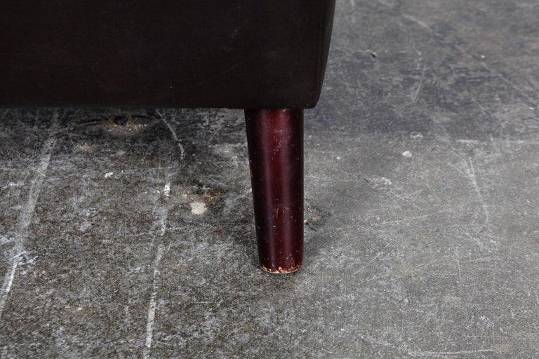 Danish Mid-Century Modern Original Brown Leather Tall Back Chair For Sale 13