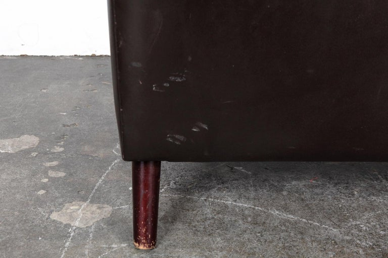 Danish Mid-Century Modern Original Brown Leather Tall Back Chair For Sale 14