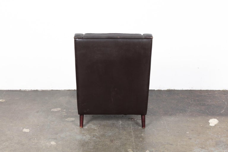 Mid-20th Century Danish Mid-Century Modern Original Brown Leather Tall Back Chair For Sale