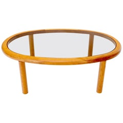 Danish Mid-Century Modern Oval Coffee Table with Smoked Glass Top