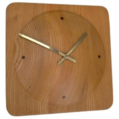 Danish Mid-Century Modern Pine and Brass Wall Clock