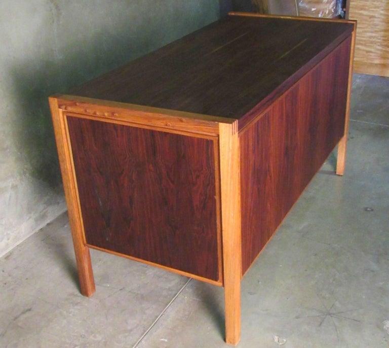 Colombian 1960s Jacaranda Rosewood & Teak Desk Mid-Century Modern Columbia South America For Sale