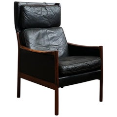 Danish Mid-Century Modern Rosewood and Black Leather Lounge Chair