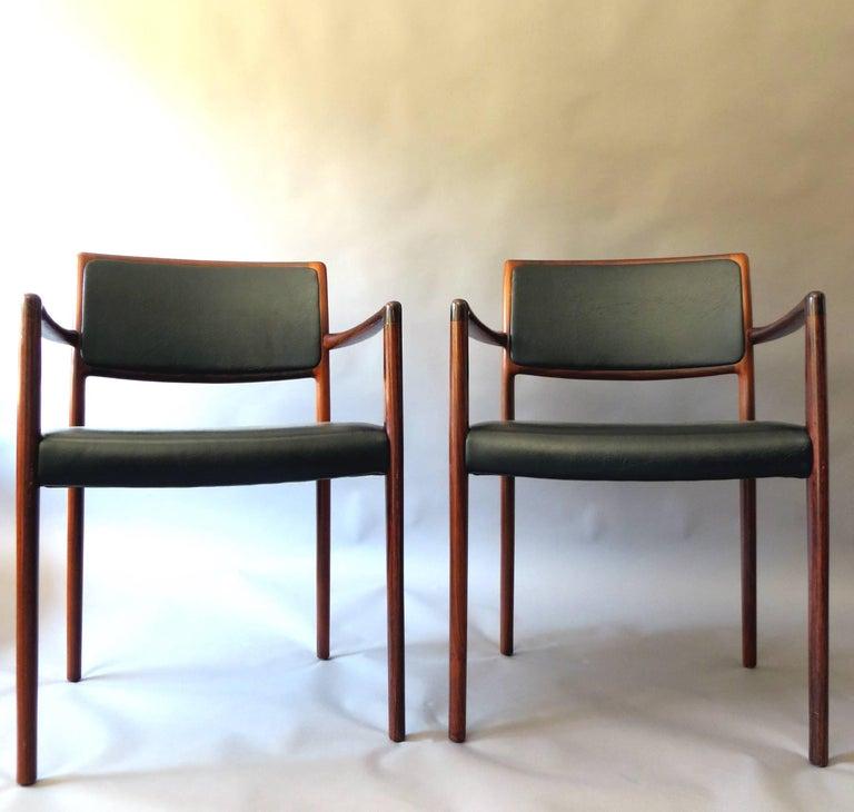 International Mid Century Dining Room: Danish Mid-Century Modern Rosewood And Leather Dining