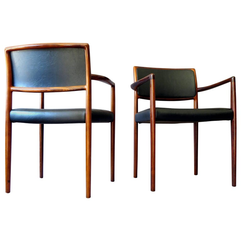 Danish Mid Century Modern Rosewood And Leather Dining Chairs Set Of
