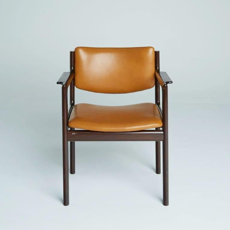 Danish Mid-Century Modern Rosewood Armchairs, circa 1960, Signed In Good Condition In Los Angeles, CA