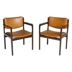 Danish Mid-Century Modern Rosewood Armchairs, circa 1960, Signed