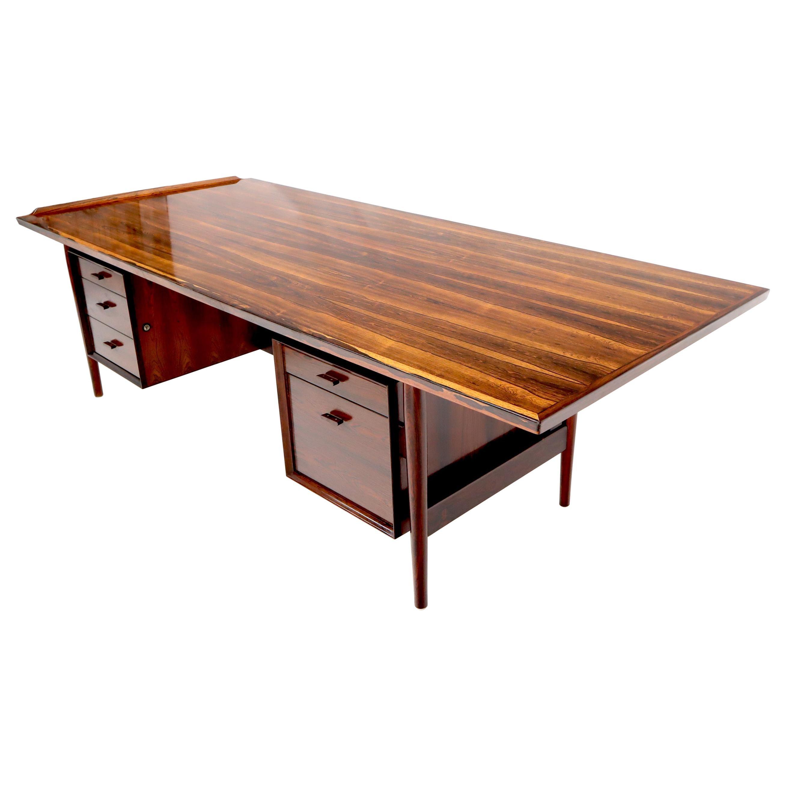 Danish Mid-Century Modern Rosewood Large Oversize Executive Desk Writing Table