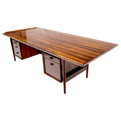 Danish Mid-Century Modern Rosewood Large Oversize Executive Desk Writing Table