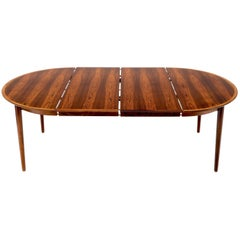 Danish Mid-Century Modern Round Rosewood Dining Table 2 Extension Boards