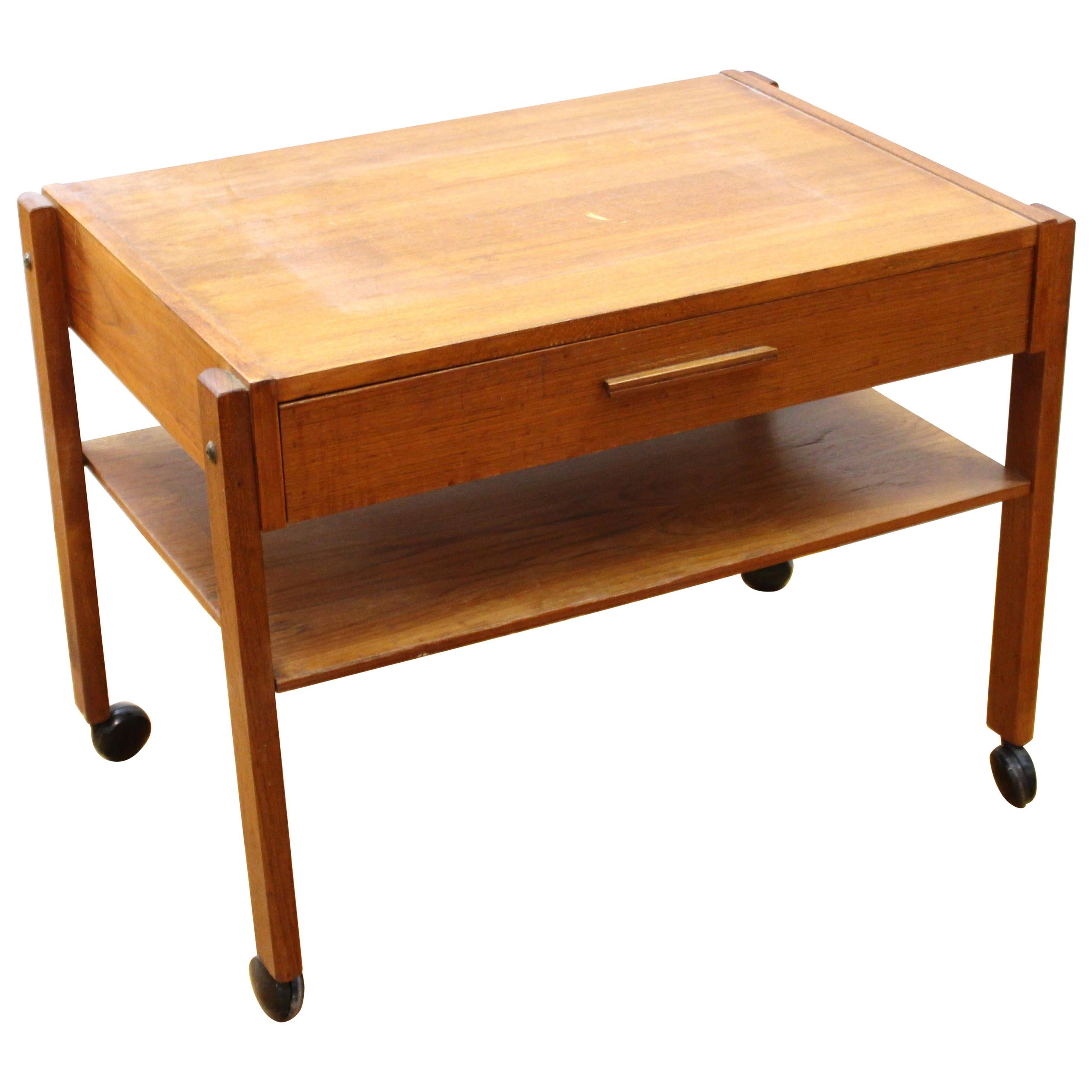Danish Mid-Century Modern Side Table on Casters