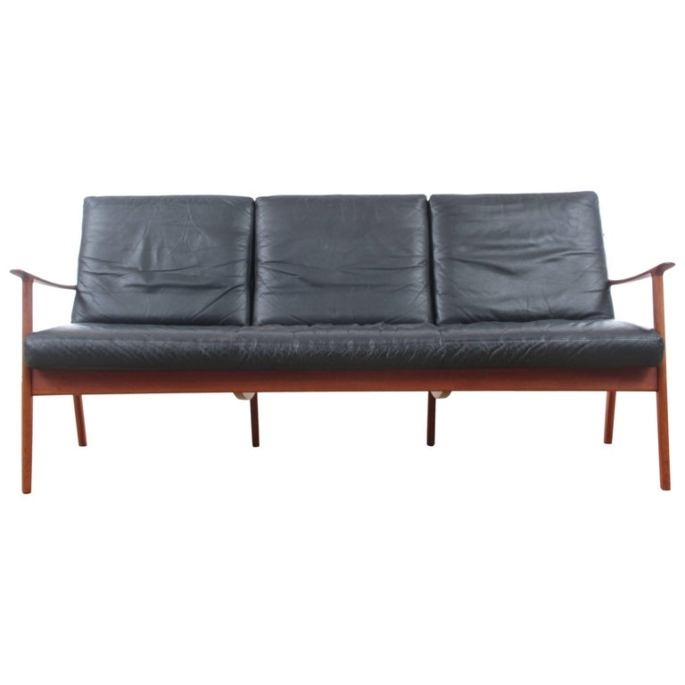 Mid Century Modern Sofa For Sale: Danish Mid-Century Modern Sofa Three-Seats By Ole Wanscher