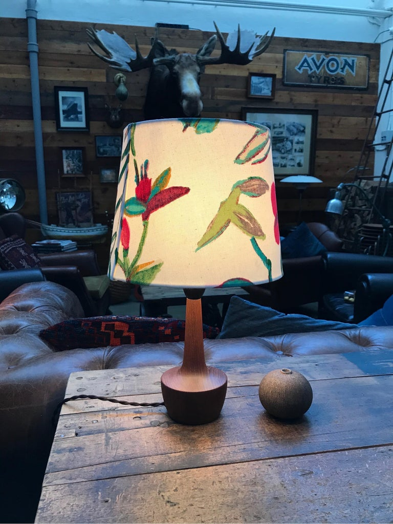 Danish Mid-Century Modern turned solid teak table lamp. 