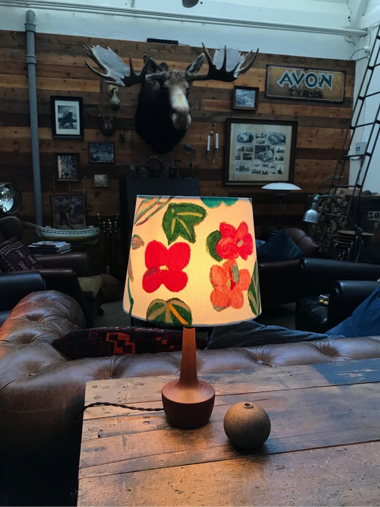Danish Mid-Century Modern Solid Teak Table Lamp with an Artbymay Lamp Shade For Sale 1