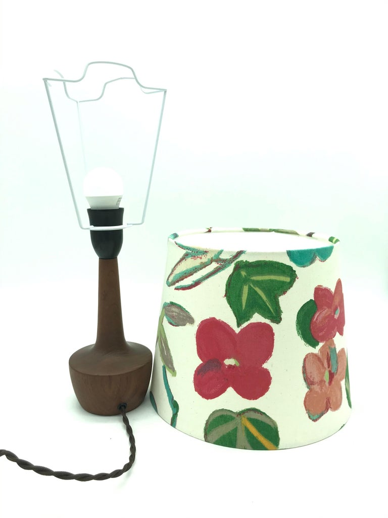 Danish Mid-Century Modern Solid Teak Table Lamp with an Artbymay Lamp Shade For Sale 4