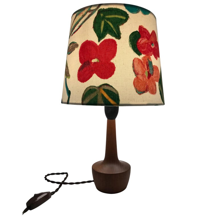 Danish Mid-Century Modern Solid Teak Table Lamp with an Artbymay Lamp Shade For Sale