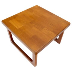 Danish Mid-Century Modern Solid Thick Teak Top Square Coffee Side Table