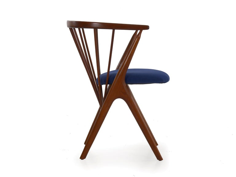 """Upholstery Danish Mid-Century Modern Spindle-Back Armchair """"No. 8"""" by Helge Sibast For Sale"""