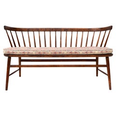 Danish Mid-Century Modern Spindle Back Settee Bench