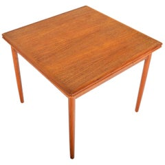 Danish Mid-Century Modern Square Draw-Leaf Dining Table in Teak