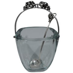 Danish Mid-Century Modern Sterling Silver and Glass Ice Bucket with Spoon