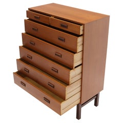 Danish Mid-Century Modern Tall High Boy Chest of 7 Drawers Dresser Cabinet