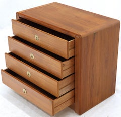Danish Mid-Century Modern Teak 4-Drawer Bachelor Chest Dresser Credenza