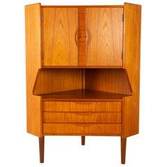 Danish Mid-Century Modern Teak Corner Cabinet with Bar Unit, 1960s