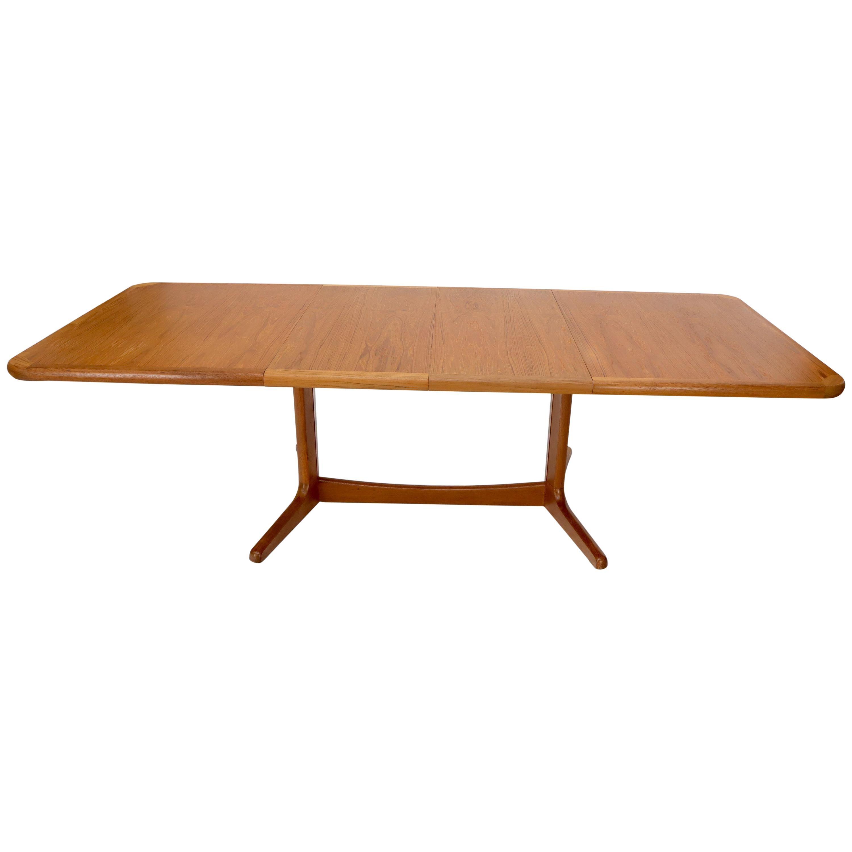 Danish Mid-Century Modern Teak Dining Table Two Leafs