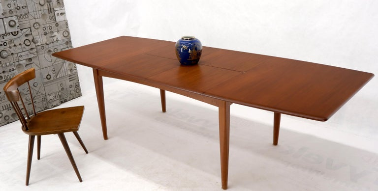 Danish Mid Century Modern Teak Dining, Dining Room Table With Self Storing Leaves