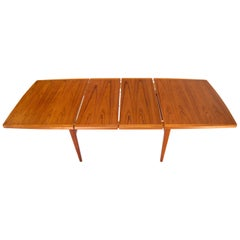 Danish Mid-Century Modern Teak Dining Table with Two Extension Boards Leaves